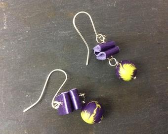 Mixed media earrings- hook/ dangle earrings