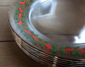 Vintage Arcoroc Trasparent Christmas Plates with Holly and Red Berries and Ribbon Trim