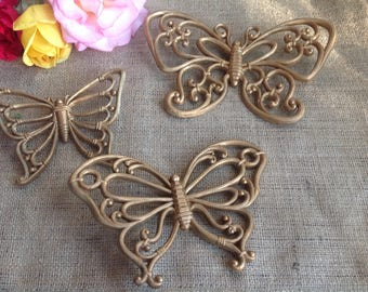 3 Homco Retro Butterflies Gold Three diffetent Sizes and Shapes Wall Hangings