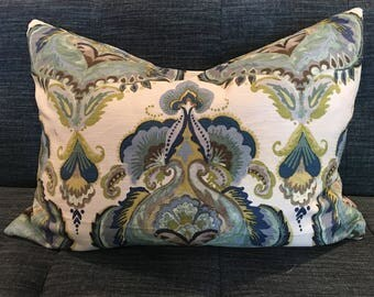 IN STOCK / Blue and Grey Damask Pillow Cover /18 x 26 /Designer Upholstery