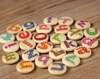 "30 PC Painted wood buttons 15mm - Wooden Buttons ,tree buttons, natural wood buttons ""letter"" A061"