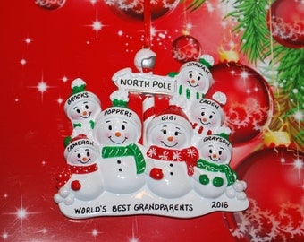 Personalized North Pole Snowman Family of 7  with Optional Pet Christmas Ornament