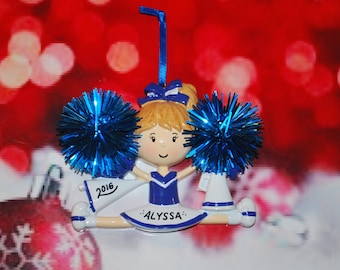 Personalized Blue & White Cheerleader Christmas Ornament