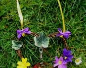 Handmade Ostara  Miniature Heart Wreath With Goddess, Moon, Hare, Nest & Eggs . Original Positively Pagan Design.