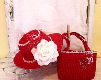 Ruby Butterfly Dreams Tea Party Hat & Purse, Child Easter Hat, Dress-up Hat,