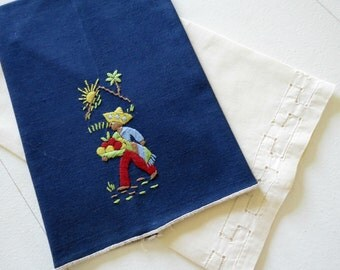 2 Vintage Tea Towels, Dark Blue Embroidered w Mexican Motif, Pale Yellow w Drawn Thread Work, Vintage Linens by TheSweetBasilShoppe