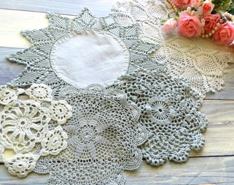 5 Vintage Doilies, Hand Dyed in Shades of Sea Foam Green, Round Crocheted Doilies, Doily Set, Vintage Linens By TheSweetBasilShoppe