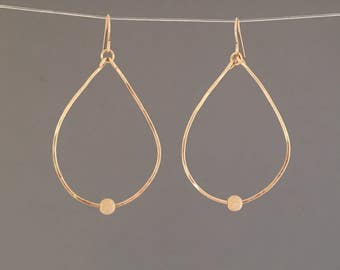 Gold Hammered Teardrop with Stardust Bead Earrings Also Available in Silver and Rose Gold