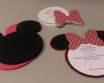DIY Minnie Mouse Invitations in Red and White Polka Dots, Baby Shower Invitation Set, Build Your Own Invitations