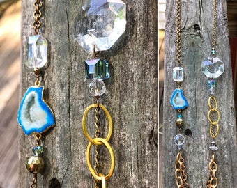 Long asymmetrical turquoise geode upcycled chandelier piece mismatched chain yellow gold and brass statement necklace