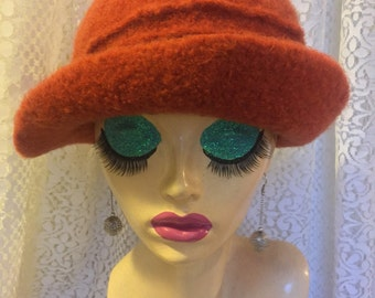 RESERVED FOR BILLIE Vintage Inspired Crocheted Felted Cloche Flapper Hat 'Ronie'