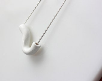 Handmade porcelain geometric necklace on a silver chain - white