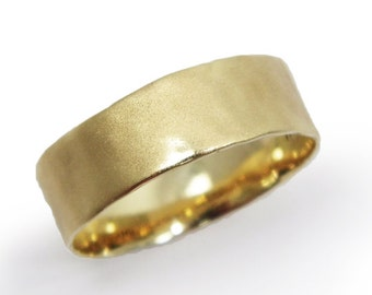 Hammered matte wedding band.  6.7mm Wide wedding band - 14k yellow gold ring  hes and hers wedding band, matte wedding ring (gr-9379-1491).