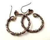 Rustic Jewelry Copper Earrings Rustic Earrings Copper Wire Jewelry Copper Hoop Earrings Wire Wrapped Jewelry Handmade Oxidized Copper Hoops