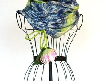 Infinity scarf felted  from wool and silk - Chunky cowl scarf -  navy blue green scarf with pink flower - ready to ship