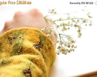 Felted wrist warmers Wearable art - fingerless gloves - arm warmers - felt merino wool cuffs - yellow fingerless gloves
