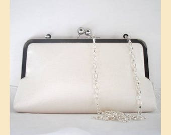 Wedding clutch bag in ivory silk with shoulder chain in silver or antique brass, silk bridal purse, optional personalisation