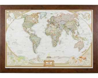 executive world push pin travel map brown frame 24x36 inch 5662436map01b