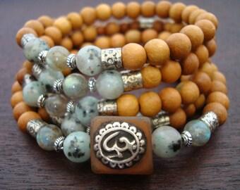 Women's Old Indian Carnelian Om Mala // Healing Jasper, Labradorite, Sandalwood Mala Necklace or Wrap Bracelet // Yoga, Meditation, Jewelry