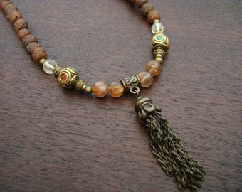 Women's Sunstone Rudraksha Mala // Sanded Rudraksha Mala Necklace or Wrap Bracelet // Yoga, Buddhist, Prayer Beads, Jewelry