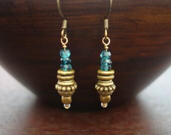 Women's London Blue Topaz Earrings // November Birthstone Earrings // Yoga, Buddhist, Jewelry, Women, Yoga Jewelry