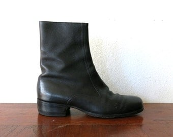 Chelsea Boots / 60s Beatle Boots / Black Leather Boots Sz 7 E Mens / 8.5 or 9 Womens