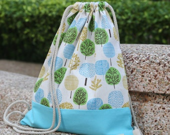 Drawstring backpack/ Cotton backpack/ Drawstring bag/ handmade backpack/ Gym bag/ Swim bag ~ Lovely trees (B96)
