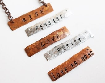 Resist Stamped Necklace, Stamped Jewelry, Persist, Love, Love is Boss, Rise, Resistance Jewelry, Women, Gift for Her, Beaded Jewelry