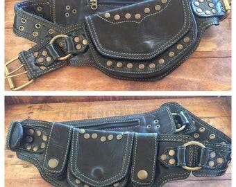 SALE Black leather sycamore pocket belt/ belt bag/ festival belt/burning man belt/ utility belt