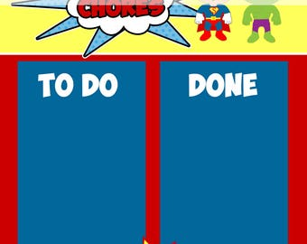 Printable Chore Chart - Instant Download - Superhero Reward Chart -  To Do and Done Sheet