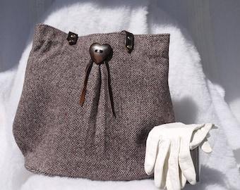 Tweed Purse, Brown Tweed Purse, Wool Purse, Medium Purse, Upcycled Recycled Repurposed Purse, Bag, Medium Purse, Medium Bag, Wool Bag