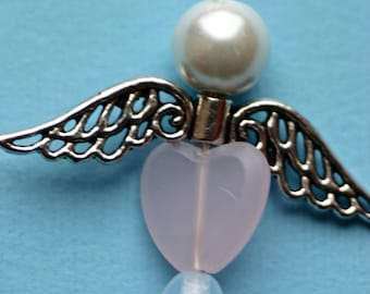 Angel, beaded Christmas ornament, wings, glass beads, white and silver, package decoration, pearl, heart, girl, clear, pink