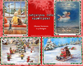 Christmas greeting Card sets, assorted Handmade with Art Photo to frame , original artwork by Laurie Shanholtzer
