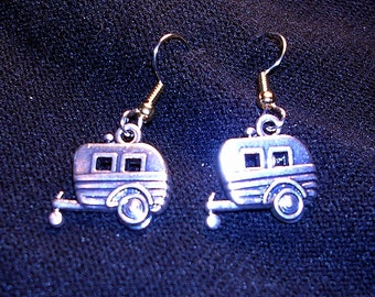 RV Camper Earrings : Silver tone.