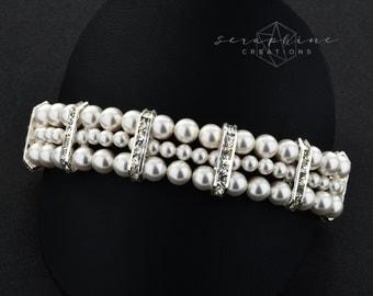 Bridal Pearl Bracelet Wedding Jewelry Wedding Cuff Bracelet Swarovski Pearls Cubic Zirconia Bling Rhinestone White Ivory Cream Classic B07