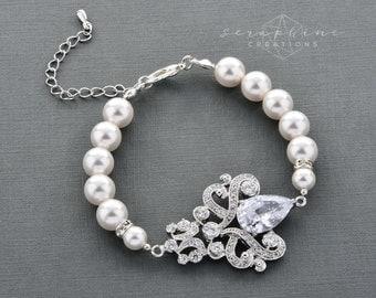 Wedding Pearl Bracelet Wedding Jewelry Bridal Cuff Bracelet Swarovski Pearls Cubic Zirconia Rhinestones Bling Victorian Wedding Isolde B10