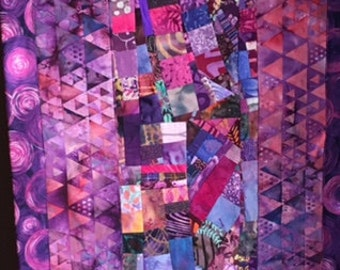Art Quilt Long Wall Hanging//Purple Collage//FREE SHIPPING