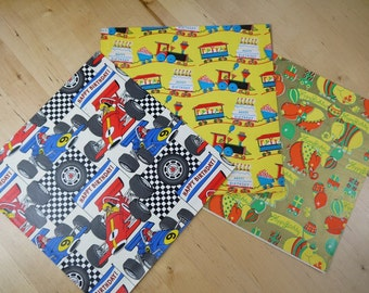 Vintage 70s/80s Happy Birthday Kids/Children Wrapping Paper