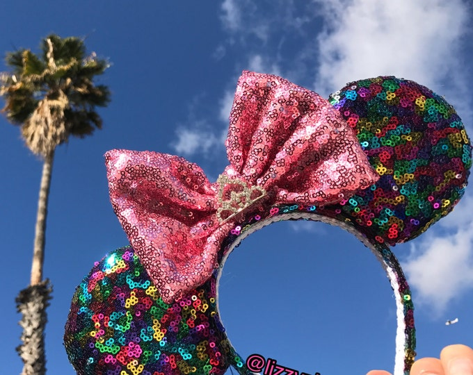Rainbow Confetti sequin Minnie ears with any color sequin bow