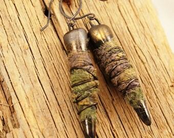 The Dark Side--Dark Green Clay Spikes and Silk Earrings  Rustic Boho. 684