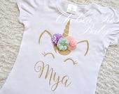 Pink and Gold Unicorn Birthday shirt, Personalized Unicorn Birthday shirt, Unicorn Birthday outfit, Girls Birthday Shirt, Gold Unicorn