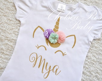 Pink and Gold Unicorn Birthday shirt, Personalized Unicorn Birthday shirt, Unicorn Birthday outfit, Girls Birthday Shirt, Gold Unicorn