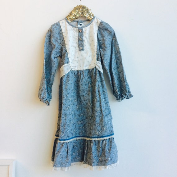 Vintage 4-5 Years Worn Dress frilly Corduroy bow tie at back long sleeves