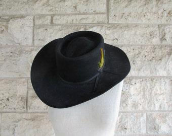 Vintage Cowboy Hat Stetson XXXX Beaver Black Wool Feather Cowboy Hat Size 7 Cowboy Hat San Antonio