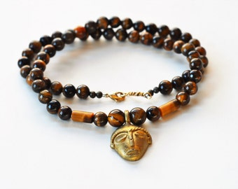 Tiger eye necklace, Gift for men, Mens jewelry, Tigers eye necklace, Pendant necklace, Gift for him, Round tigers eye necklace, Brass bead