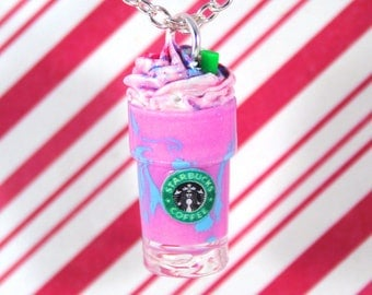 unicorn frappuccino starbucks necklace kawaii polymer clay charms miniature food jewelry polymer clay food necklace food charm unicorn charm