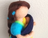 Babywearing Rainbow Goddess needle felted sculpture