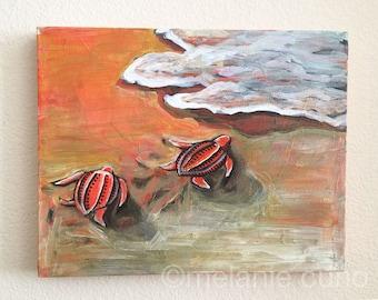 Baby Sea Turtles- Journey- original on canvas