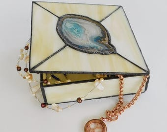 Stained Glass Agate Jewelry Box