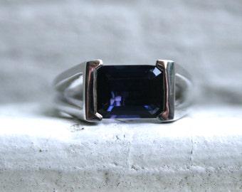 Vintage Modernist 14K White Gold Iolite Ring Engagement Ring - 2.00ct.